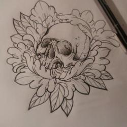 Drawn peony skull