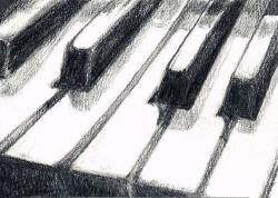 Drawn music piano