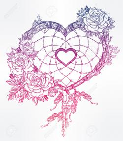 Drawn hearts romantic