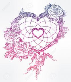 Drawn hearts romantic