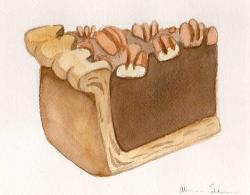 Drawn pies watercolor