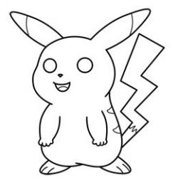 Drawn pikachu black and white