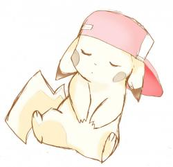 Drawn pikachu cute sleeping