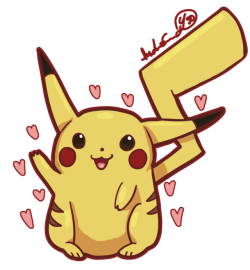 Drawn pikachu excited