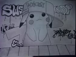 Drawn pikachu graffiti