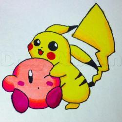 Drawn pikachu kirby