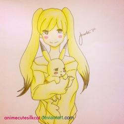 Drawn pikachu pokemon female human