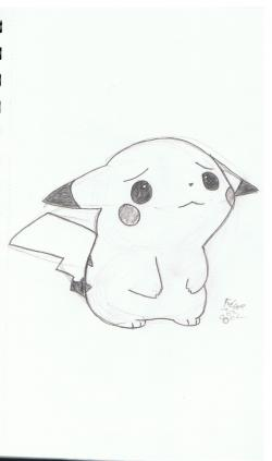 Drawn pikachu sad