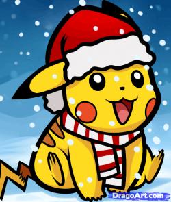 Drawn pikachu santa