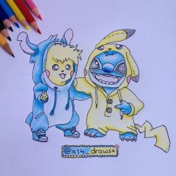 Drawn pikachu stitch