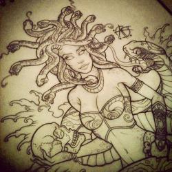 Drawn pin up  medusa