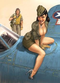 Drawn pin up  plane