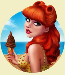 Drawn pin up  red hair