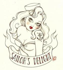 Drawn pin up  sailor