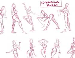 Drawn pin up  standing