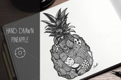 Drawn pineapple abstract