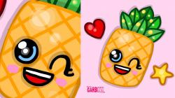 Drawn pineapple kawaii