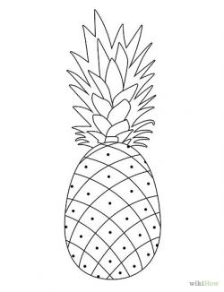 Drawn pineapple line drawing
