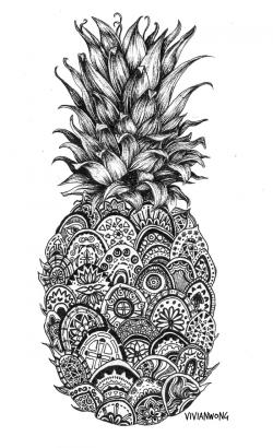 Drawn pineapple zentangle