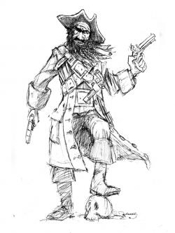 Drawn pirate blackbeard