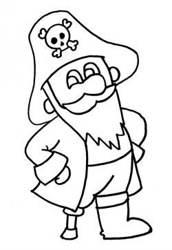 Drawn pirate coloring book