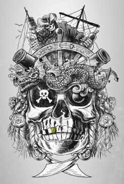 Drawn pirate cool skeleton head