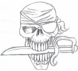 Drawn pirate halloween character