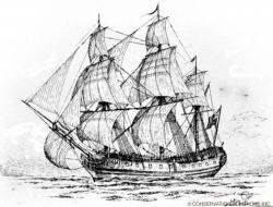 Drawn yacht pirate ship