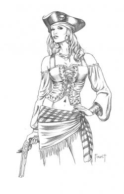 Drawn pirate pirate woman
