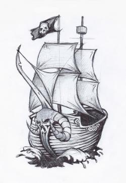 Drawn yacht pirate