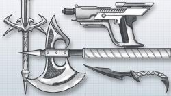 Drawn pistol awesome gun