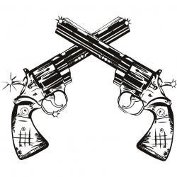 Drawn pistol cowboy gun