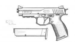 Drawn pistol doodle