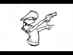 Drawn pistol graffiti