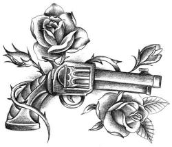 Drawn pistol guns and rose