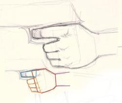 Drawn pistol hand holding