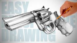 Drawn pistol pencil drawing