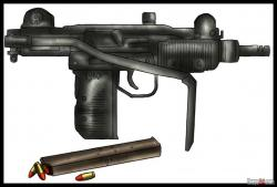 Drawn pistol submachine gun