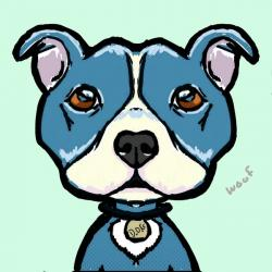 Drawn pitbull cartoon