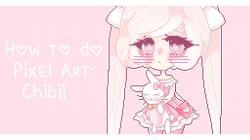 Drawn pixel art anime chibi