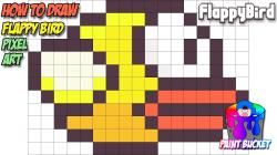Drawn pixel art flappy bird