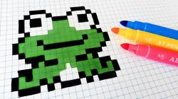 Drawn pixel art frog
