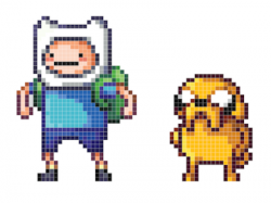 Drawn pixel art grid adventure time