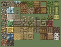 Drawn pixel art ground