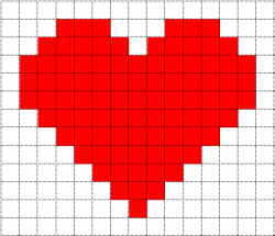Drawn pixel art heart grid