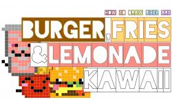 Drawn pixel art kawaii food