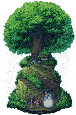 Drawn shrub pixel art