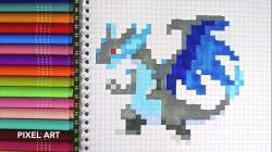 Drawn pixel art pokemon charizard