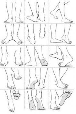 Drawn women foot