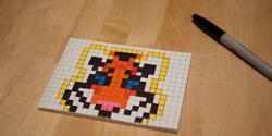 Drawn pixel art sticky note